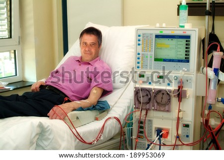 Patient in a clinic in dialysis. - stock photo