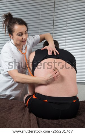 Patient in an hospital waiting for the diagnostic of the doctor - stock photo