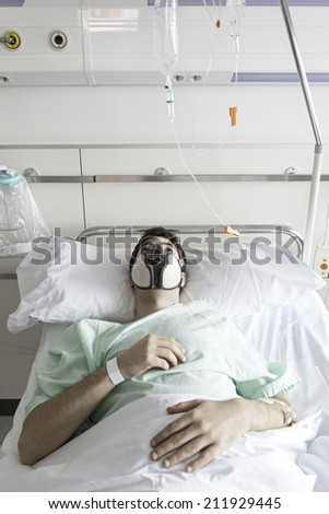 Patient infected with mask in hospital, sick - stock photo