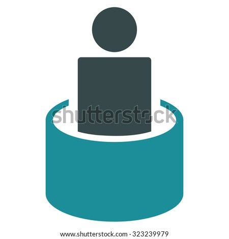 Patient Isolation glyph icon. Style is bicolor flat symbol, soft blue colors, rounded angles, white background. - stock photo