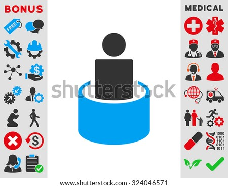 Patient Isolation illustration icon. Style is bicolor flat symbol, blue and gray colors, rounded angles, white background. - stock photo
