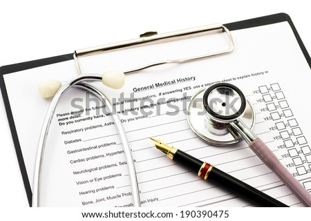 patient medical history Script board on white isolated - stock photo
