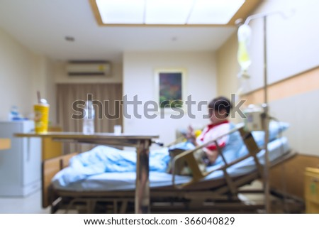 Patient On Bed in Room Hospital - stock photo