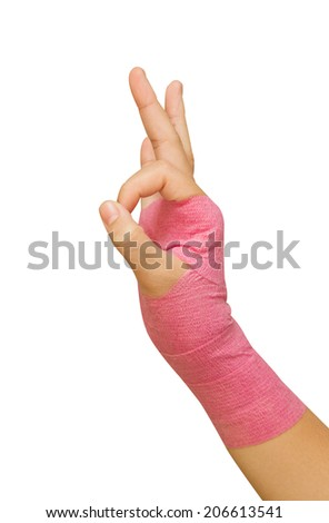 Patient 's hand show O.K. sign - stock photo