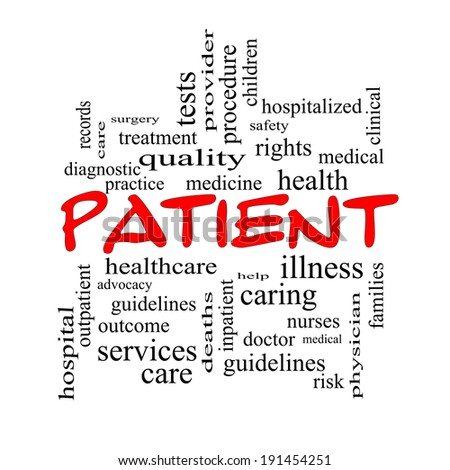Patient Word Cloud Concept in red caps with great terms such as medicine, rights, healthcare and more. - stock photo