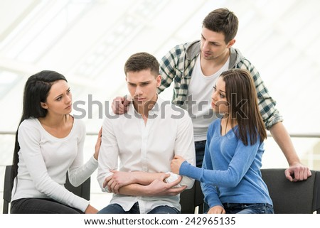 Patients are telling their problems to therapist during session. - stock photo