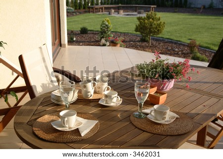 Patio and table - stock photo