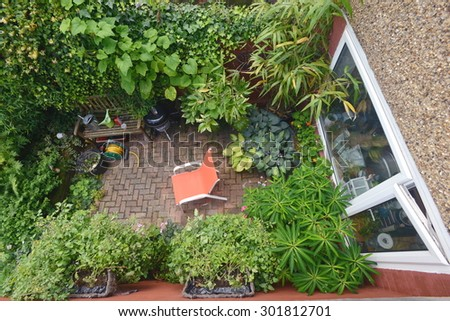 Patio area in garden taken from above - stock photo