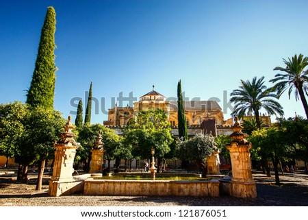 Patio de los Naranjos at the Mezquita of Cordoba , Spain - stock photo