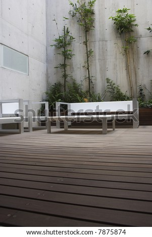 patio detail in a modern apartment in Mexico City - stock photo