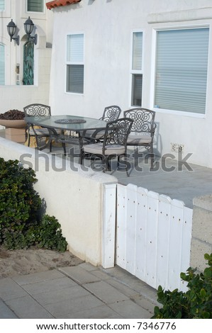 Patio gate of beach-front vacation property; Mission Beach; San Diego, California - stock photo