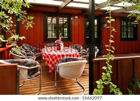 Patio in a middle-class Swedish villa - stock photo