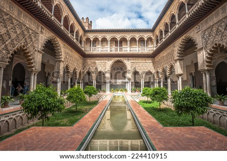 Patio in Royal Alcazars of Seville, Spain - stock photo