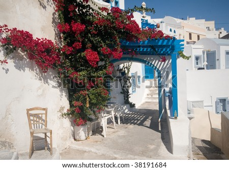 Patio in Santorini, Greece - stock photo