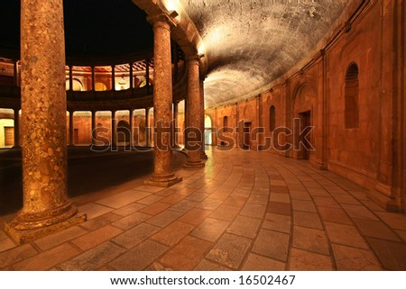 Patio in the Palace of Charles V, Granada, Spain - stock photo
