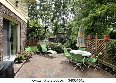 Patio of suburban home - stock photo