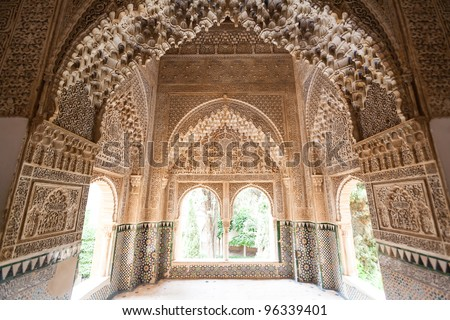 Patio of the lions room detail from the Alhambra palace in Granada Spain - stock photo