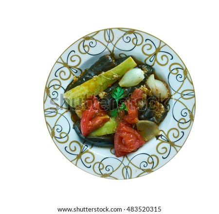 Patlican Dizme Tarifi - Turkish dish with vegetables and eggplant
