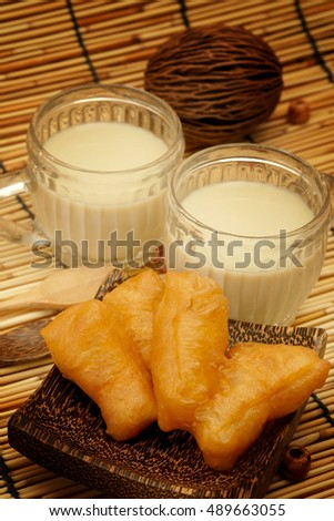 Patongko, deep-fried dough stick and soy milk, asian breakfast served with earth tone style