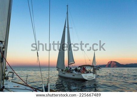 "PATRAS, GREECE - OCT 2, 2014: Unidentified sailboats participate in sailing regatta ""12th Ellada Autumn 2014"" on Aegean Sea."