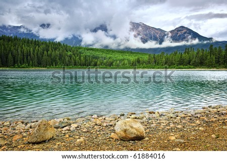 Patricia Lake and Pyramid Mountain in Jasper National Park, Canada - stock photo