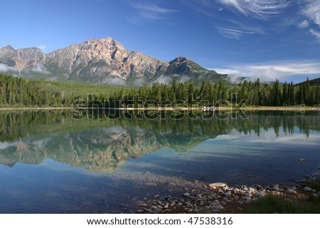 Patricia Lake in Jassper National Park - stock photo