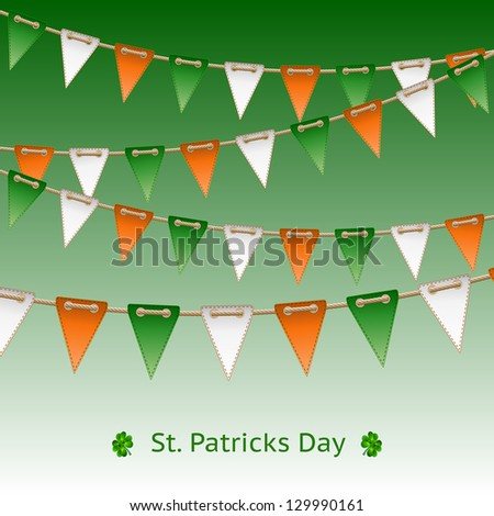 Patrick day card with flag garland. - stock photo