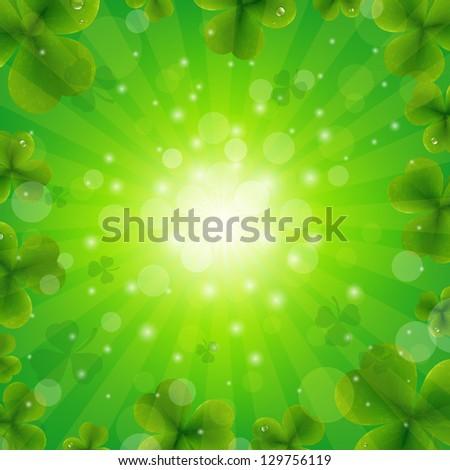 Patrick Day Green Background - stock photo