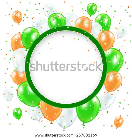 Patricks day background with round banner, balloons and confetti, illustration. - stock photo