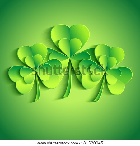 Patricks day card with stylized 3d leaf clover. Trendy Patricks day background with three green leaf clover. Modern bright floral background. Raster version  - stock photo