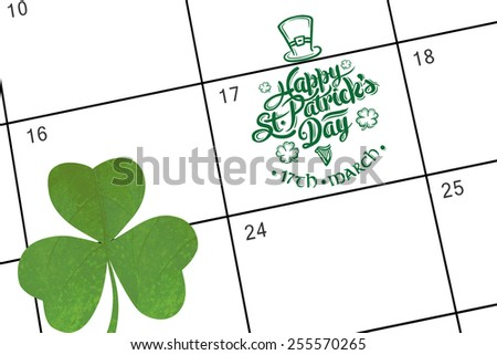 patricks day greeting against january calendar - stock photo