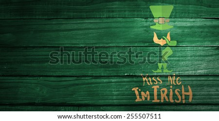 patricks day greeting against overhead of wooden planks - stock photo