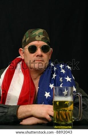Patriotic American Biker - stock photo