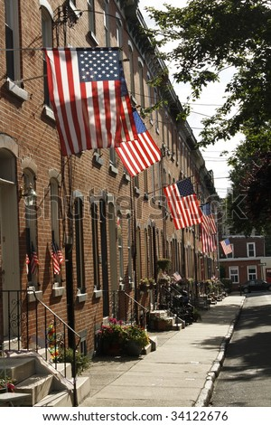 patriotic american street with flags in philadelphia on July Fourth