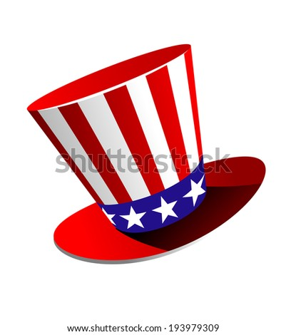 Patriotic American top hat in the red, white and blue colours of the Stars and Stripes at a jaunty angle on a white background. Vector version also available in gallery