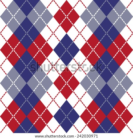 Patriotic Argyle pattern in red, white and blue repeats seamlessly. - stock photo