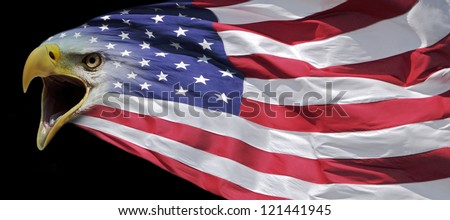 patriotic bald eagle and us flag banner - stock photo