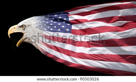 Patriotic bald eagle blended with US flag - stock photo