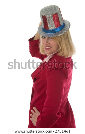 Patriotic blond woman in red business suit with red, white, and blue hat 2.