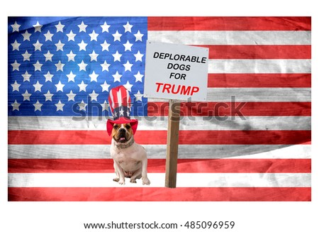 Patriotic Bulldog posing in front of an American Flag  near a sign that says Deplorable Dogs for Trump