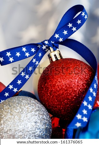 Patriotic Christmas Ornaments - stock photo