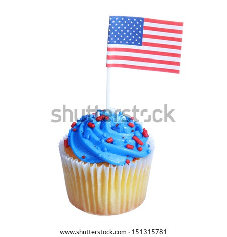 Patriotic cupcake with American Flag and blue cream and red stars sprinkles on the top, isolated on white background. Decorated for  - stock photo