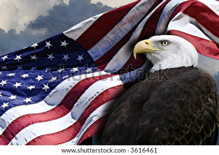 Patriotic eagle and American flag. - stock photo