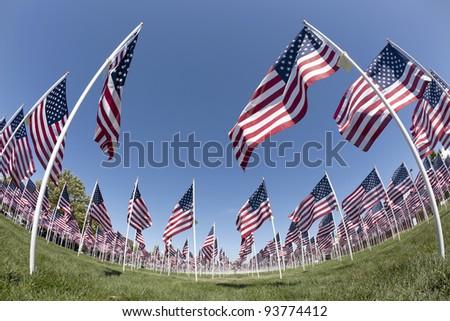 Patriotic flag display . Fish-eye view - stock photo