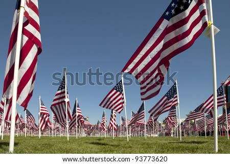 Patriotic flag display with a long exposure for blur effect on flag motion - stock photo