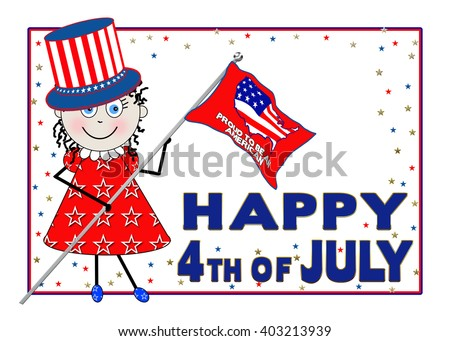 Patriotic graphic young girl wearing uncle sam hat and carrying usa flag.  White background.  Happy 4th of July. - stock photo
