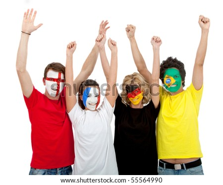 Patriotic group of people from different countries and flags painted on their faces ? isolated - stock photo