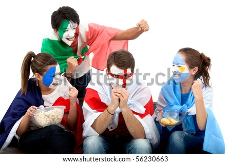 Patriotic group of people from different countries and flags painted on their faces picking on Englad - stock photo