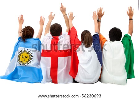 Patriotic group of people from different countries with flags isolated - rear view - stock photo