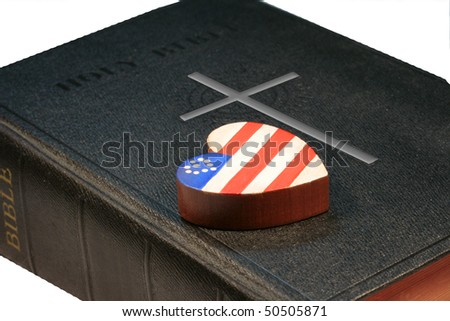 Patriotic Heart resting on a black bible